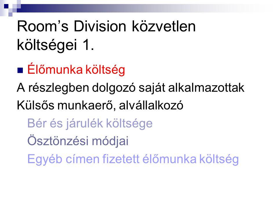Room's Division közvetlen költségei 1.