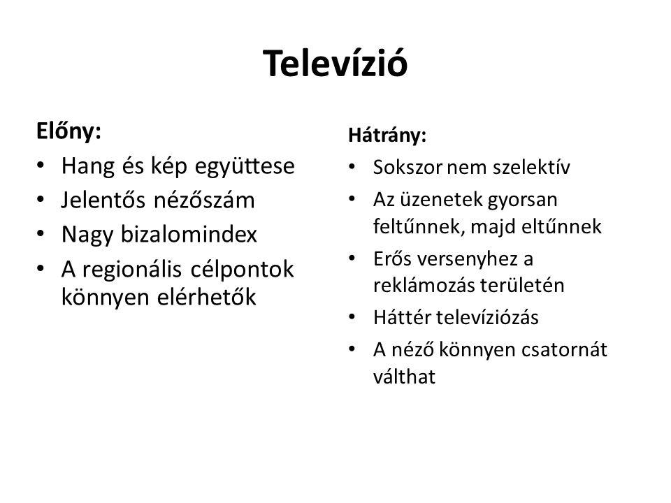 Televízió Előny: • Hang és kép együttese • Jelentős nézőszám • Nagy bizalomindex • A regionális célpontok könnyen elérhetők Hátrány: • Sokszor nem sze
