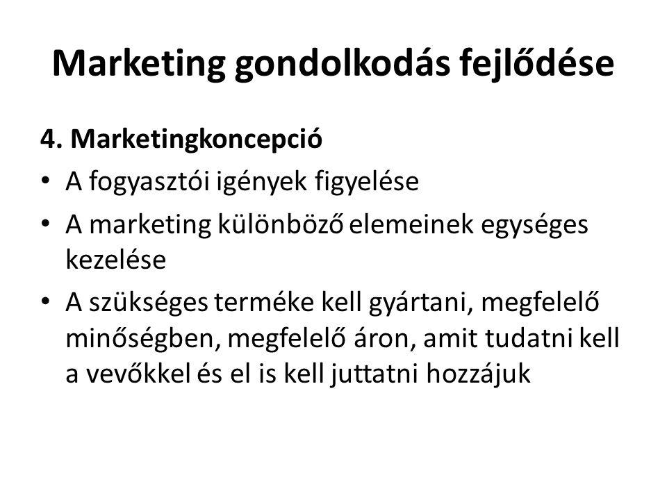 Marketing gondolkodás fejlődése 4. Marketingkoncepció • A fogyasztói igények figyelése • A marketing különböző elemeinek egységes kezelése • A szükség