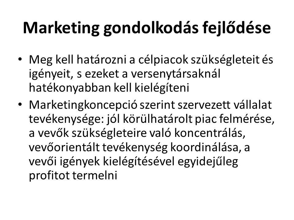 Marketing gondolkodás fejlődése • Meg kell határozni a célpiacok szükségleteit és igényeit, s ezeket a versenytársaknál hatékonyabban kell kielégíteni