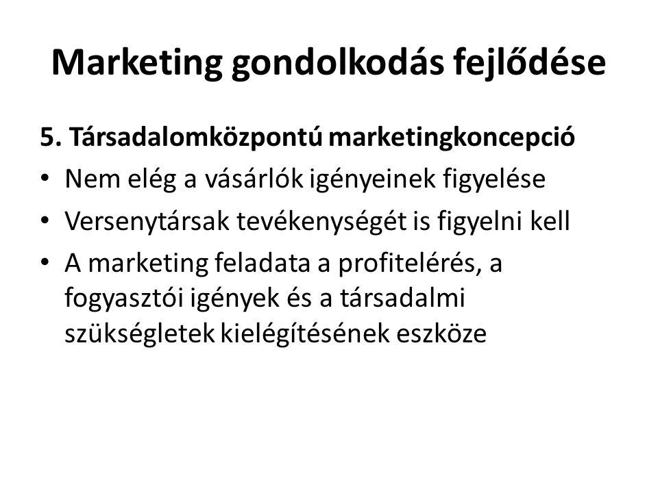 Marketing gondolkodás fejlődése 5. Társadalomközpontú marketingkoncepció • Nem elég a vásárlók igényeinek figyelése • Versenytársak tevékenységét is f