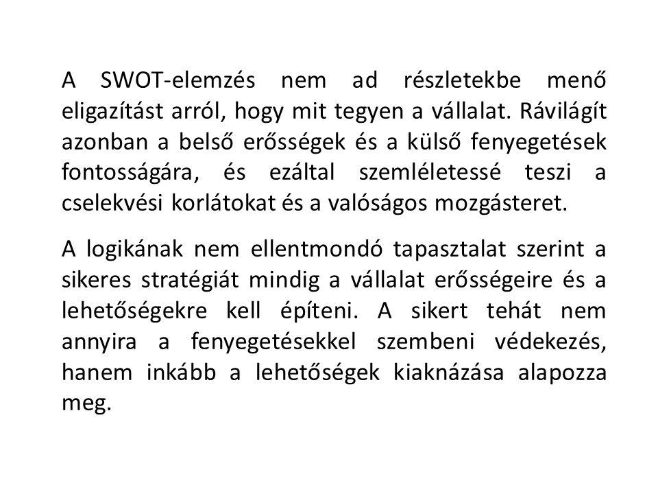 A SWOT-elemzés nem ad részletekbe menő eligazítást arról, hogy mit tegyen a vállalat. Rávilágít azonban a belső erősségek és a külső fenyegetések font