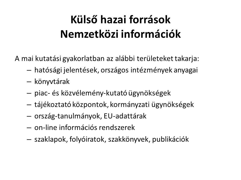 Külső hazai források Nemzetközi információk A mai kutatási gyakorlatban az alábbi területeket takarja: – hatósági jelentések, országos intézmények any