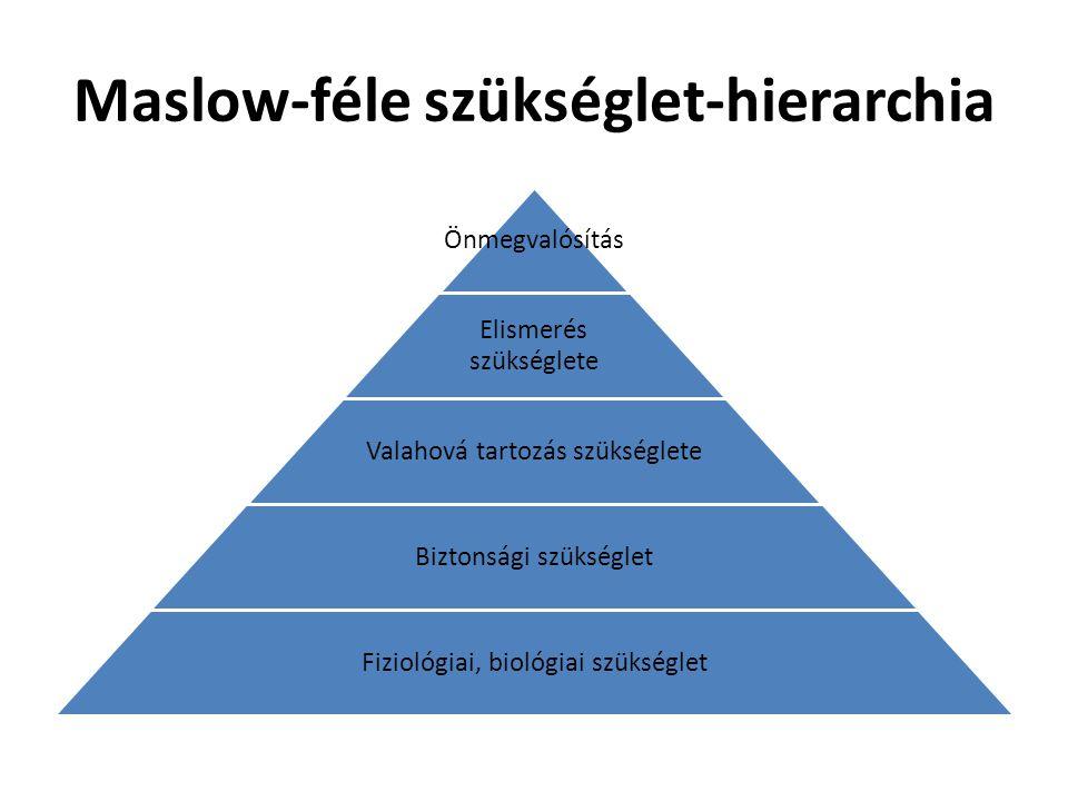 Maslow-féle szükséglet-hierarchia Önmegvalósítás Elismerés szükséglete Valahová tartozás szükséglete Biztonsági szükséglet Fiziológiai, biológiai szük