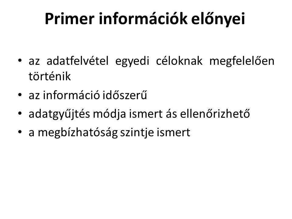 Primer információk előnyei • az adatfelvétel egyedi céloknak megfelelően történik • az információ időszerű • adatgyűjtés módja ismert ás ellenőrizhető