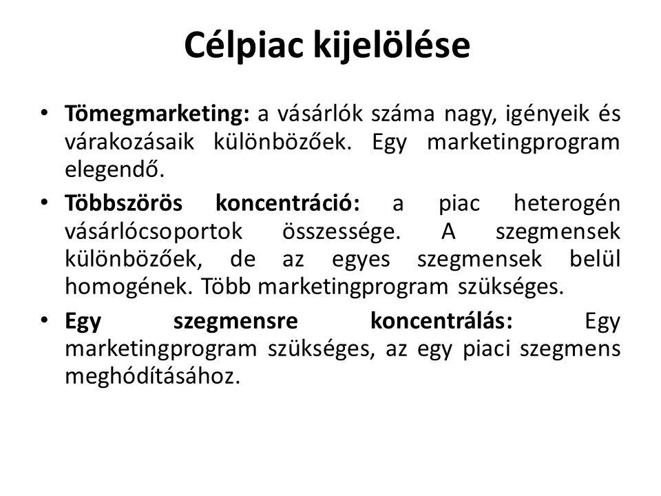 Célpiac kijelölése • Tömegmarketing: a vásárlók száma nagy, igényeik és várakozásaik különbözőek. Egy marketingprogram elegendő. • Többszörös koncentr