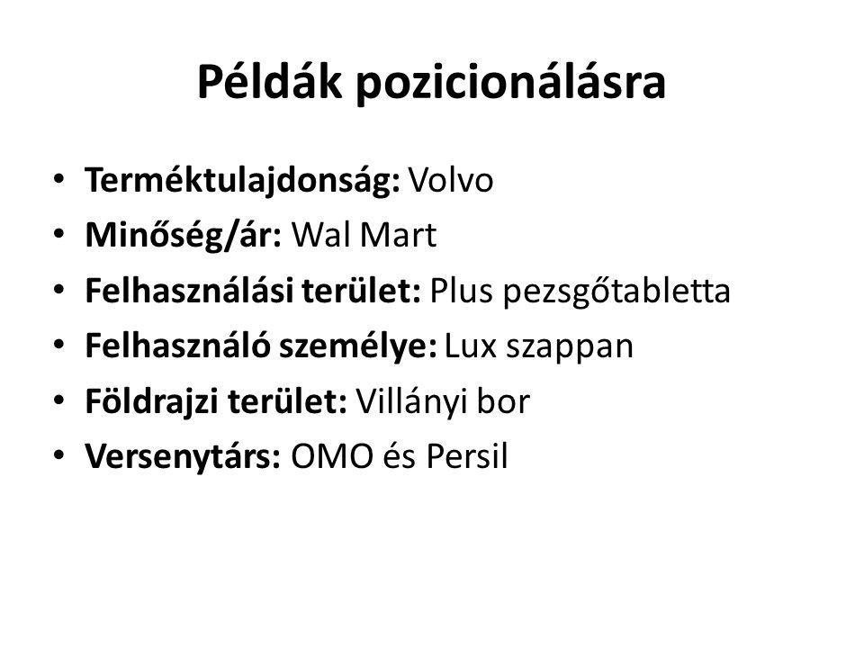 Példák pozicionálásra • Terméktulajdonság: Volvo • Minőség/ár: Wal Mart • Felhasználási terület: Plus pezsgőtabletta • Felhasználó személye: Lux szapp