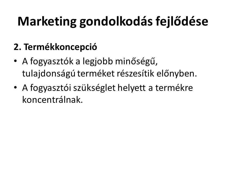 Marketing gondolkodás fejlődése 2. Termékkoncepció • A fogyasztók a legjobb minőségű, tulajdonságú terméket részesítik előnyben. • A fogyasztói szüksé