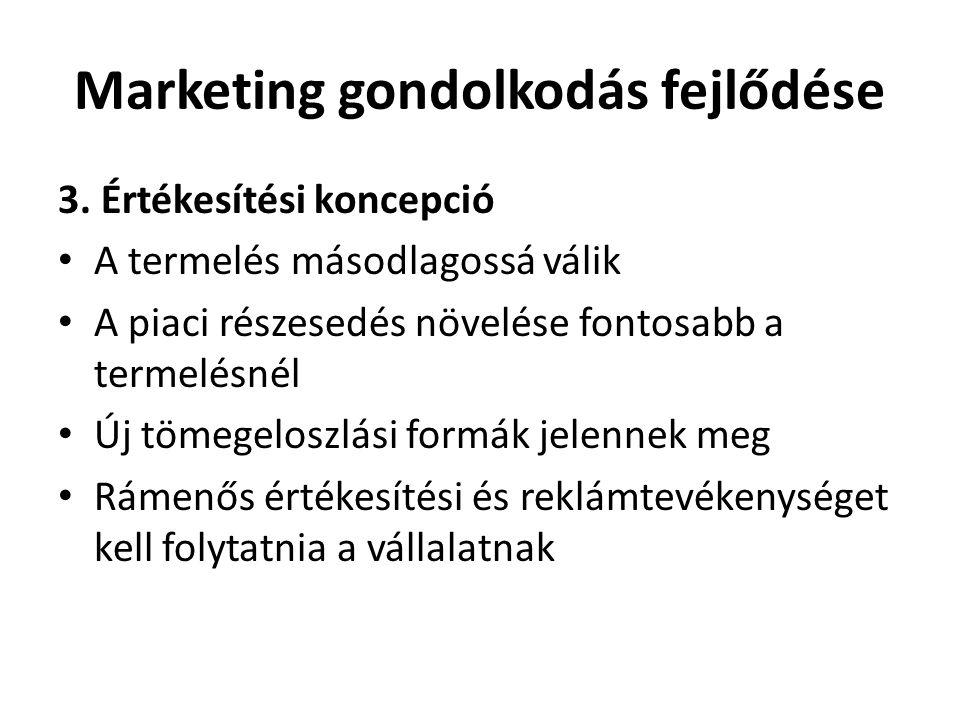 Marketing gondolkodás fejlődése 3. Értékesítési koncepció • A termelés másodlagossá válik • A piaci részesedés növelése fontosabb a termelésnél • Új t