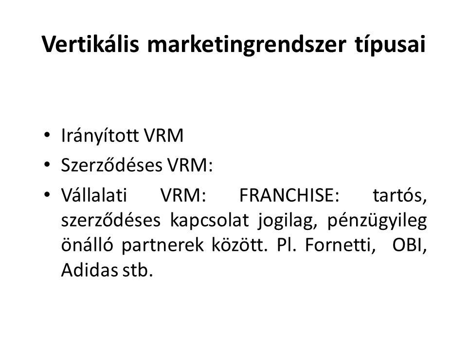 Vertikális marketingrendszer típusai • Irányított VRM • Szerződéses VRM: • Vállalati VRM: FRANCHISE: tartós, szerződéses kapcsolat jogilag, pénzügyile