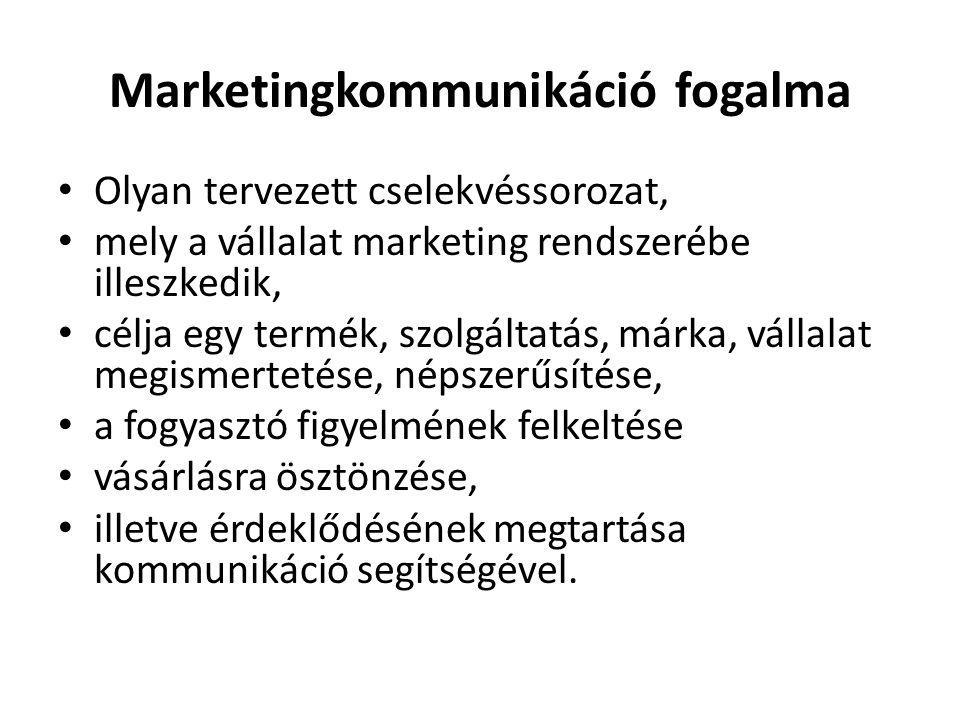 Marketingkommunikáció fogalma • Olyan tervezett cselekvéssorozat, • mely a vállalat marketing rendszerébe illeszkedik, • célja egy termék, szolgáltatá