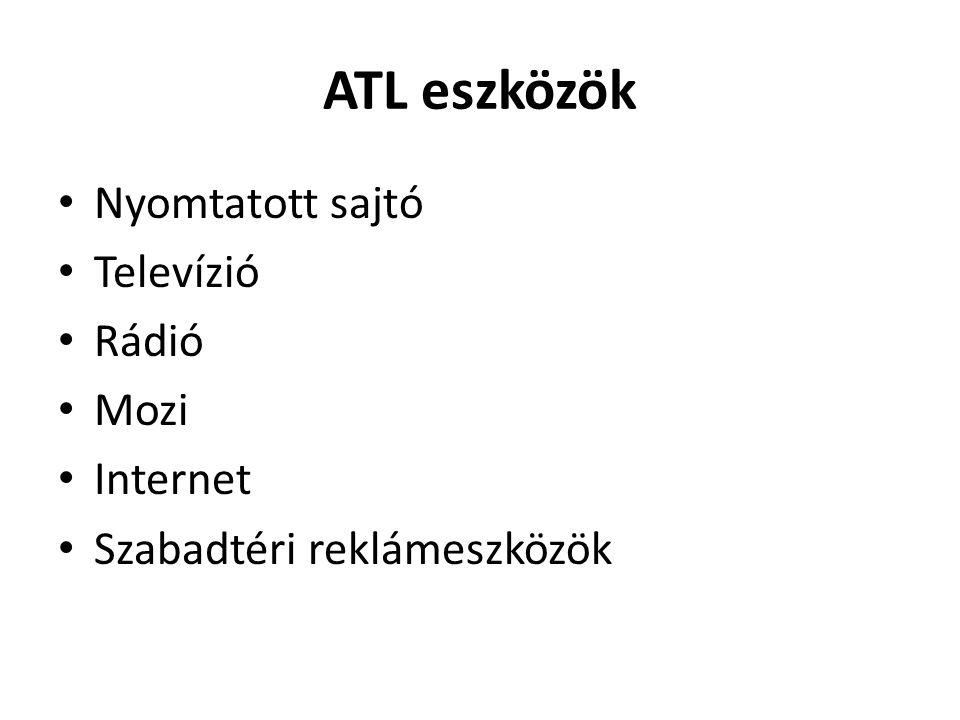 ATL eszközök • Nyomtatott sajtó • Televízió • Rádió • Mozi • Internet • Szabadtéri reklámeszközök