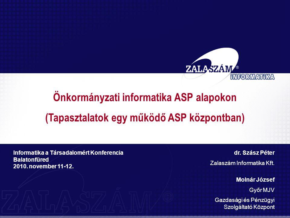 Önkormányzati informatika ASP alapokon (Tapasztalatok egy működő ASP központban) Informatika a Társadalomért Konferencia Balatonfüred 2010.