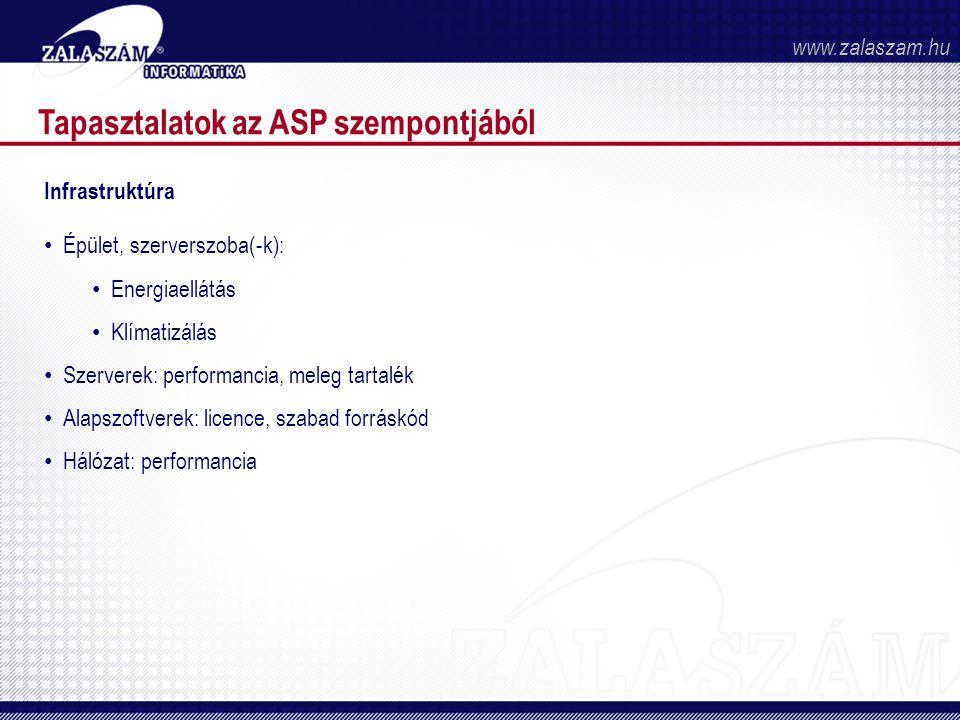 Tapasztalatok az ASP szempontjából Infrastruktúra • Épület, szerverszoba(-k): • Energiaellátás • Klímatizálás • Szerverek: performancia, meleg tartalék • Alapszoftverek: licence, szabad forráskód • Hálózat: performancia www.zalaszam.hu