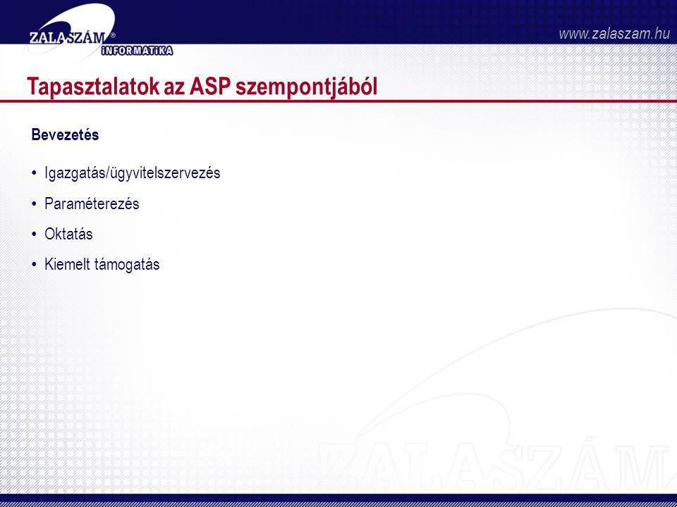 Tapasztalatok az ASP szempontjából Bevezetés • Igazgatás/ügyvitelszervezés • Paraméterezés • Oktatás • Kiemelt támogatás www.zalaszam.hu