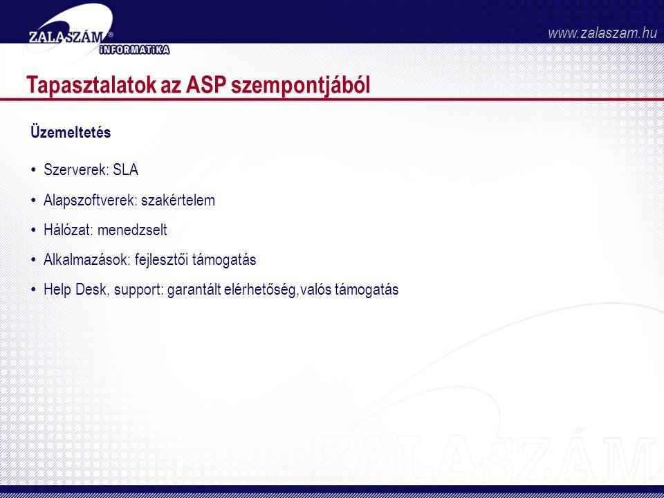Tapasztalatok az ASP szempontjából Üzemeltetés • Szerverek: SLA • Alapszoftverek: szakértelem • Hálózat: menedzselt • Alkalmazások: fejlesztői támogatás • Help Desk, support: garantált elérhetőség,valós támogatás www.zalaszam.hu