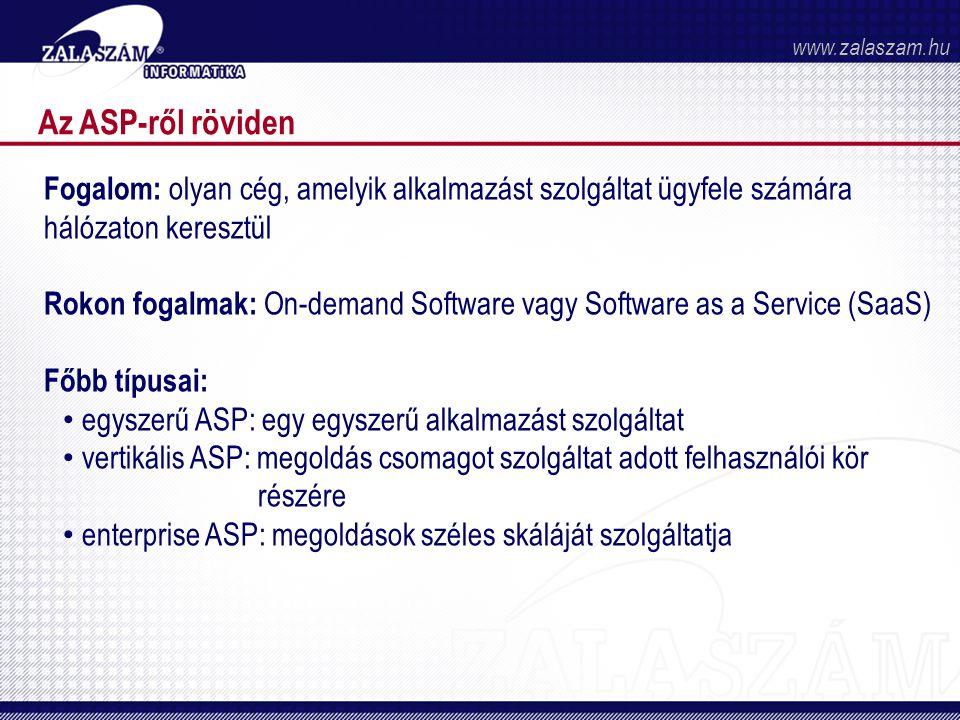 Az ASP-ről röviden Fogalom: olyan cég, amelyik alkalmazást szolgáltat ügyfele számára hálózaton keresztül Rokon fogalmak: On-demand Software vagy Software as a Service (SaaS) Főbb típusai: • egyszerű ASP: egy egyszerű alkalmazást szolgáltat • vertikális ASP: megoldás csomagot szolgáltat adott felhasználói kör részére • enterprise ASP: megoldások széles skáláját szolgáltatja www.zalaszam.hu