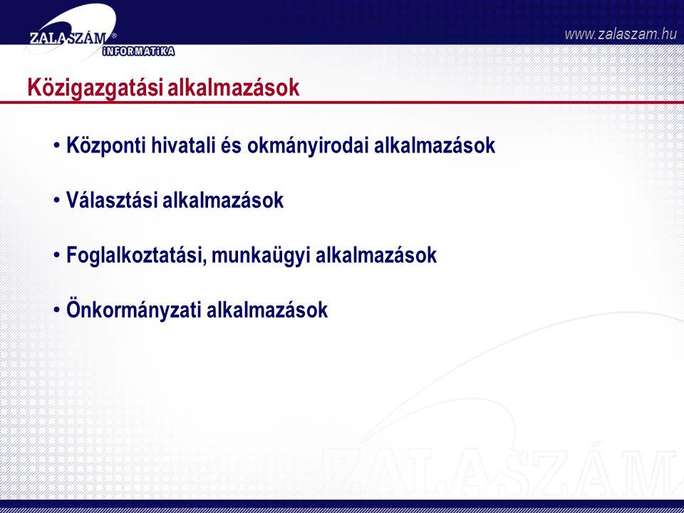 Közigazgatási alkalmazások • Központi hivatali és okmányirodai alkalmazások • Választási alkalmazások • Foglalkoztatási, munkaügyi alkalmazások • Önkormányzati alkalmazások www.zalaszam.hu