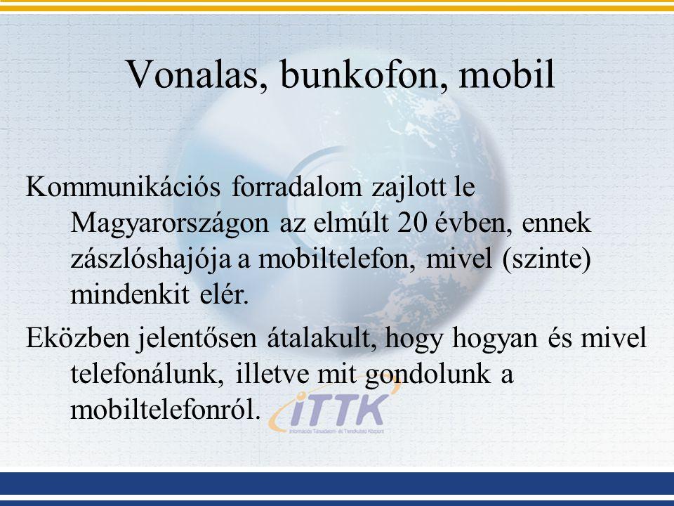 Vonalas, bunkofon, mobil Kommunikációs forradalom zajlott le Magyarországon az elmúlt 20 évben, ennek zászlóshajója a mobiltelefon, mivel (szinte) mindenkit elér.