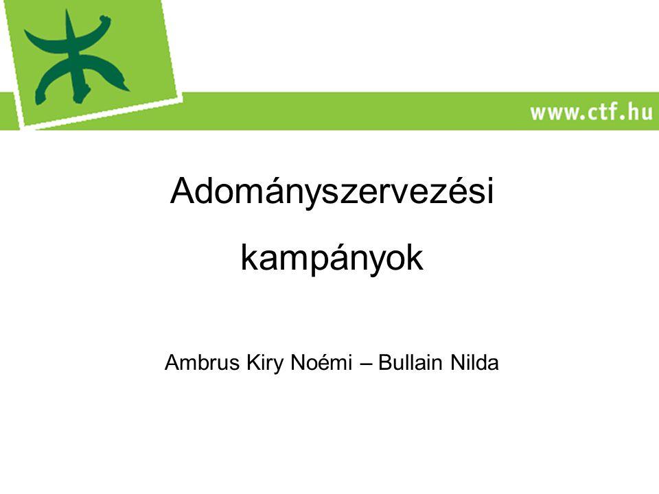 Adományszervezési kampányok Ambrus Kiry Noémi – Bullain Nilda