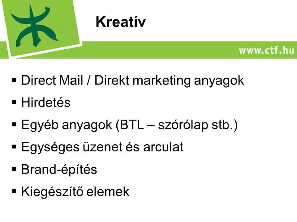  Direct Mail / Direkt marketing anyagok  Hirdetés  Egyéb anyagok (BTL – szórólap stb.)  Egységes üzenet és arculat  Brand-építés  Kiegészítő elemek Kreatív