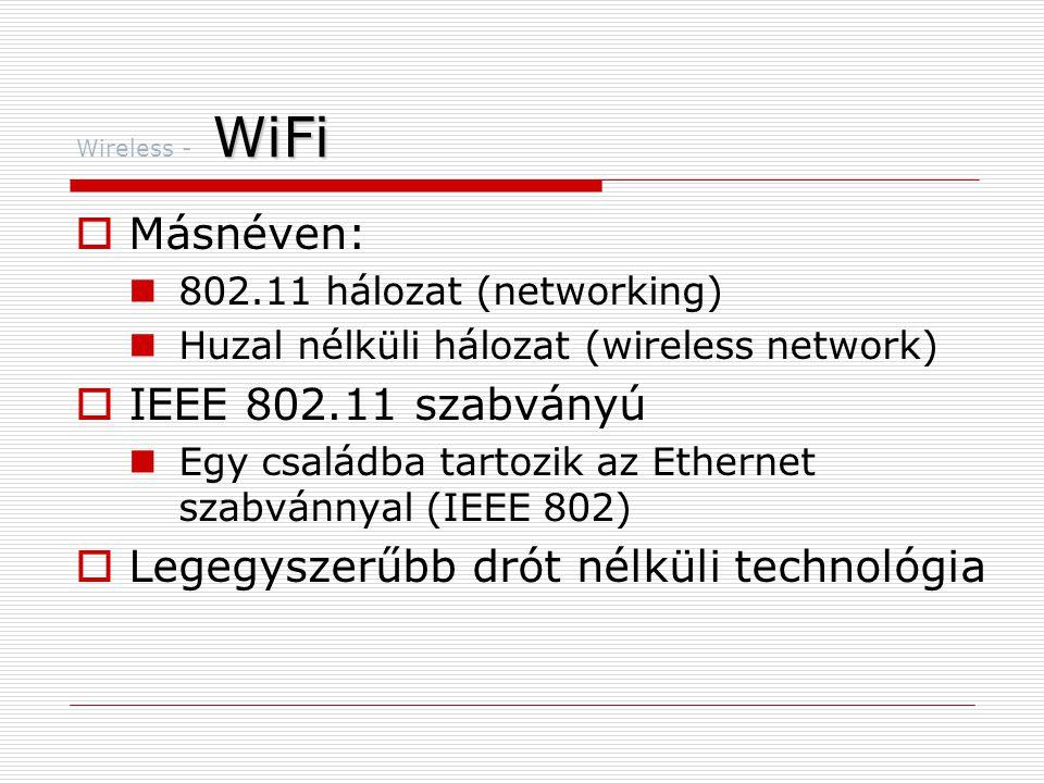 WiFi Wireless - WiFi  Másnéven:  802.11 hálozat (networking)  Huzal nélküli hálozat (wireless network)  IEEE 802.11 szabványú  Egy családba tartozik az Ethernet szabvánnyal (IEEE 802)  Legegyszerűbb drót nélküli technológia