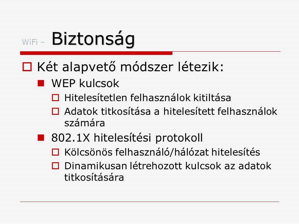 Biztonság WiFi – Biztonság  Két alapvető módszer létezik:  WEP kulcsok  Hitelesítetlen felhasználok kitiltása  Adatok titkosítása a hitelesített felhasználok számára  802.1X hitelesítési protokoll  Kölcsönös felhasználó/hálózat hitelesítés  Dinamikusan létrehozott kulcsok az adatok titkosítására