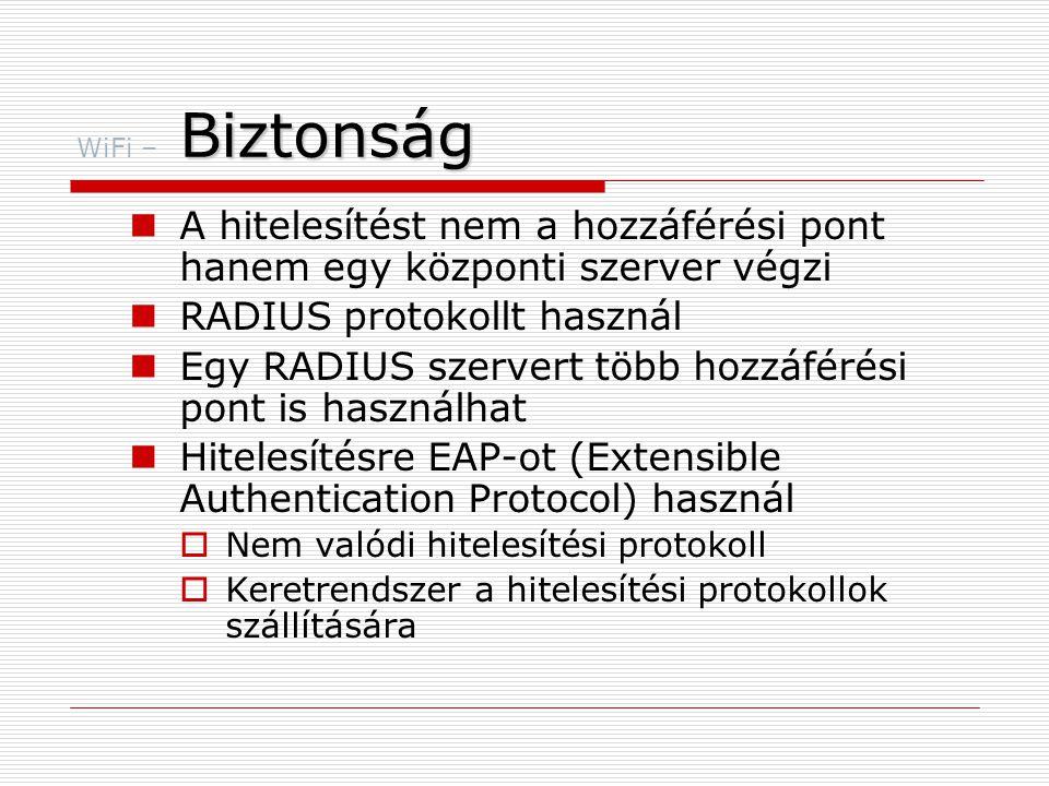 Biztonság WiFi – Biztonság  A hitelesítést nem a hozzáférési pont hanem egy központi szerver végzi  RADIUS protokollt használ  Egy RADIUS szervert több hozzáférési pont is használhat  Hitelesítésre EAP-ot (Extensible Authentication Protocol) használ  Nem valódi hitelesítési protokoll  Keretrendszer a hitelesítési protokollok szállítására