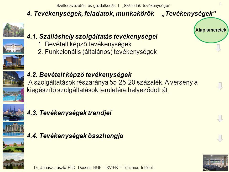 """Dr. Juhász László PhD, Docens BGF – KVIFK – Turizmus Intézet Szállodavezetés és gazdálkodás I. """"Szállodák tevékenységei"""" 5 4. Tevékenységek, feladatok"""