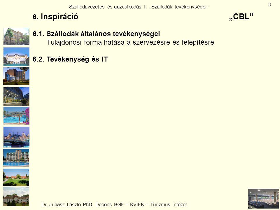 """Dr. Juhász László PhD, Docens BGF – KVIFK – Turizmus Intézet Szállodavezetés és gazdálkodás I. """"Szállodák tevékenységei"""" 8 6. Inspiráció""""CBL"""" 6.1. Szá"""