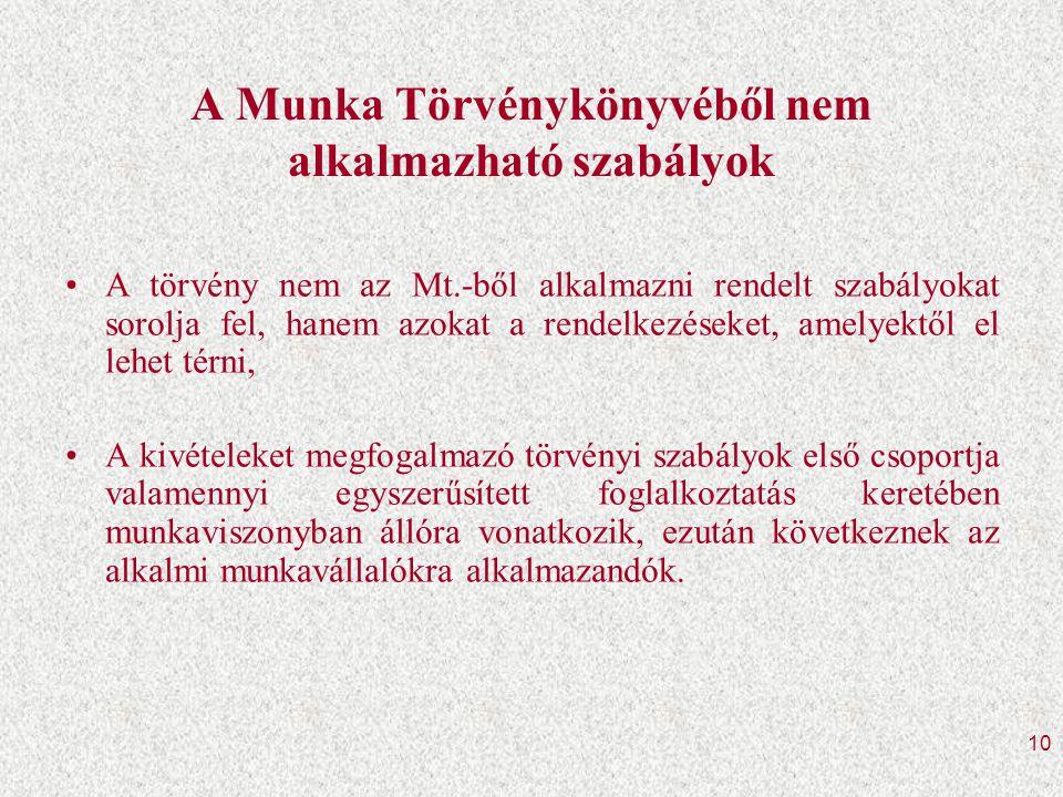 10 A Munka Törvénykönyvéből nem alkalmazható szabályok •A törvény nem az Mt.-ből alkalmazni rendelt szabályokat sorolja fel, hanem azokat a rendelkezéseket, amelyektől el lehet térni, •A kivételeket megfogalmazó törvényi szabályok első csoportja valamennyi egyszerűsített foglalkoztatás keretében munkaviszonyban állóra vonatkozik, ezután következnek az alkalmi munkavállalókra alkalmazandók.