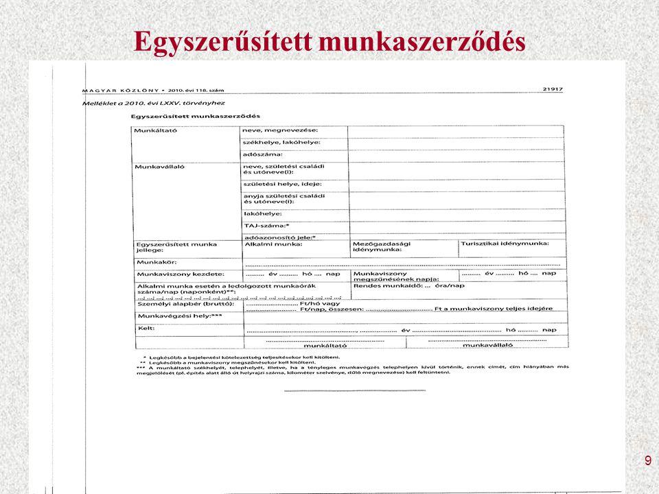 20 Bejelentés módjai Az egyszerűsített foglalkoztatás jellege Elektronikusan, Ügyfélkapun keresztül 10T1042E Telefonon a 185-ös számon azonosító jel SMS-ben (2010.