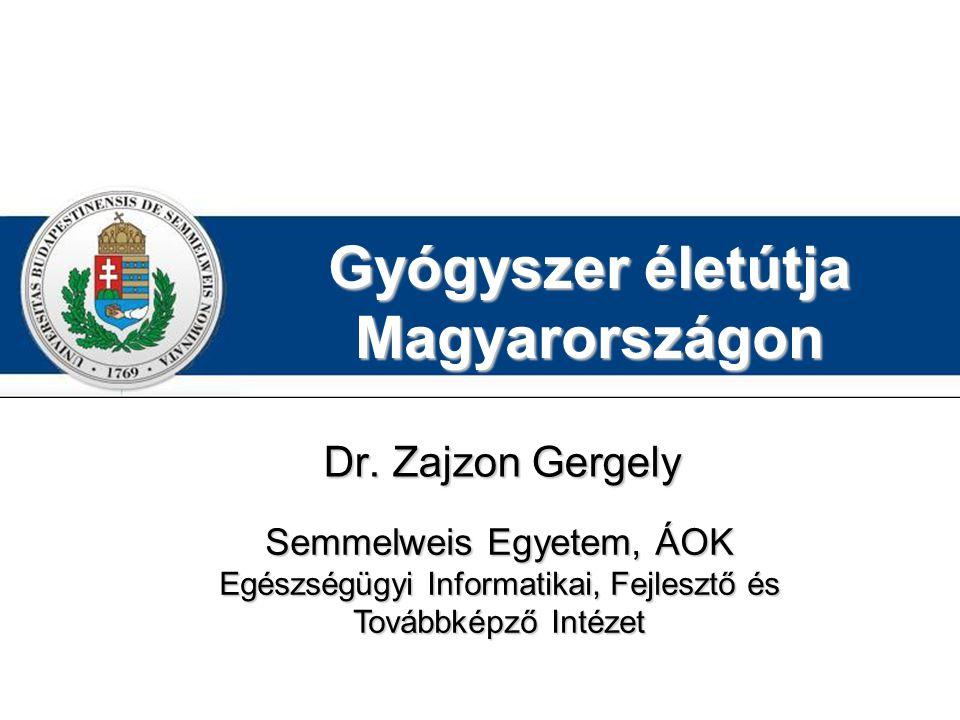 Gyógyszer életútja Magyarországon Dr. Zajzon Gergely Semmelweis Egyetem, ÁOK Egészségügyi Informatikai, Fejlesztő és Továbbképző Intézet