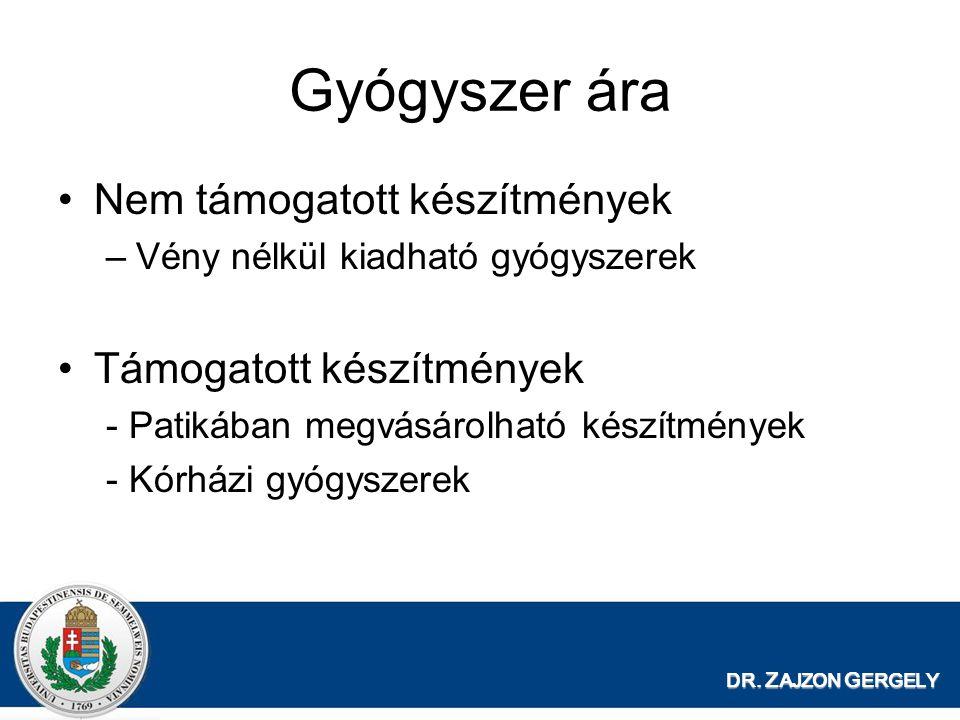 DR. Z AJZON G ERGELY Gyógyszer ára •Nem támogatott készítmények –Vény nélkül kiadható gyógyszerek •Támogatott készítmények - Patikában megvásárolható