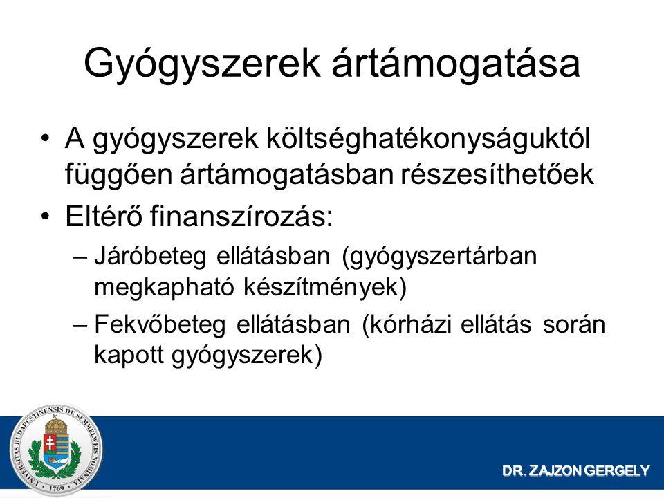 DR. Z AJZON G ERGELY Gyógyszerek ártámogatása •A gyógyszerek költséghatékonyságuktól függően ártámogatásban részesíthetőek •Eltérő finanszírozás: –Jár