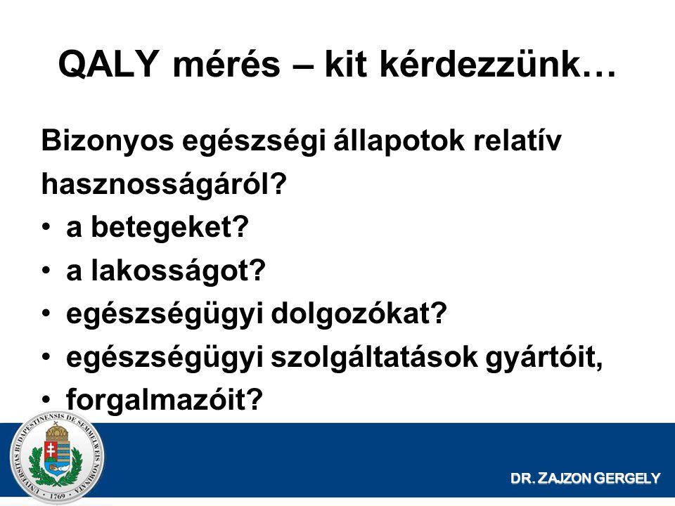 QALY mérés – kit kérdezzünk… Bizonyos egészségi állapotok relatív hasznosságáról? •a betegeket? •a lakosságot? •egészségügyi dolgozókat? •egészségügyi