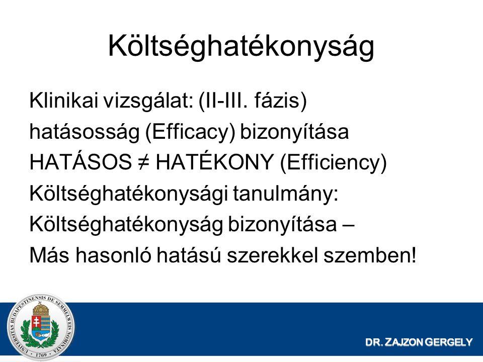 Költséghatékonyság Klinikai vizsgálat: (II-III. fázis) hatásosság (Efficacy) bizonyítása HATÁSOS ≠ HATÉKONY (Efficiency) Költséghatékonysági tanulmány