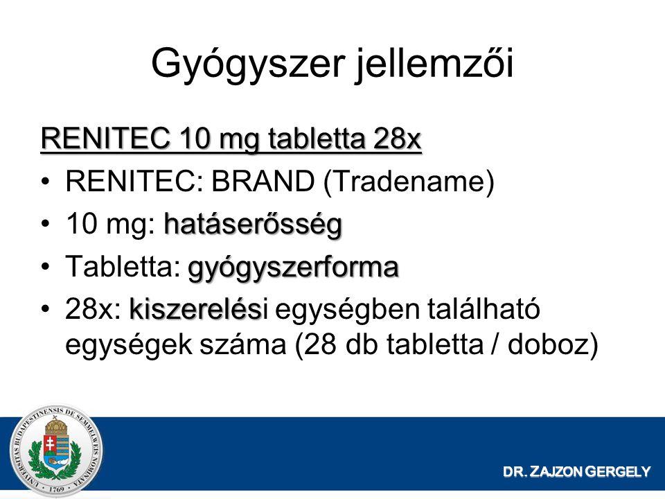 Gyógyszer jellemzői RENITEC 10 mg tabletta 28x •RENITEC: BRAND (Tradename) hatáserősség •10 mg: hatáserősség gyógyszerforma •Tabletta: gyógyszerforma