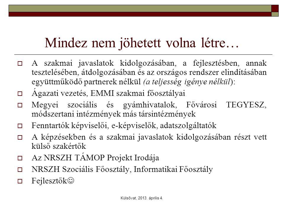 Külsővat, 2013. április 4. Mindez nem jöhetett volna létre…  A szakmai javaslatok kidolgozásában, a fejlesztésben, annak tesztelésében, átdolgozásába