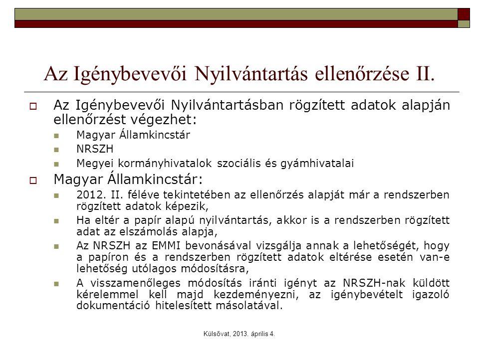 Külsővat, 2013. április 4. Az Igénybevevői Nyilvántartás ellenőrzése II.  Az Igénybevevői Nyilvántartásban rögzített adatok alapján ellenőrzést végez