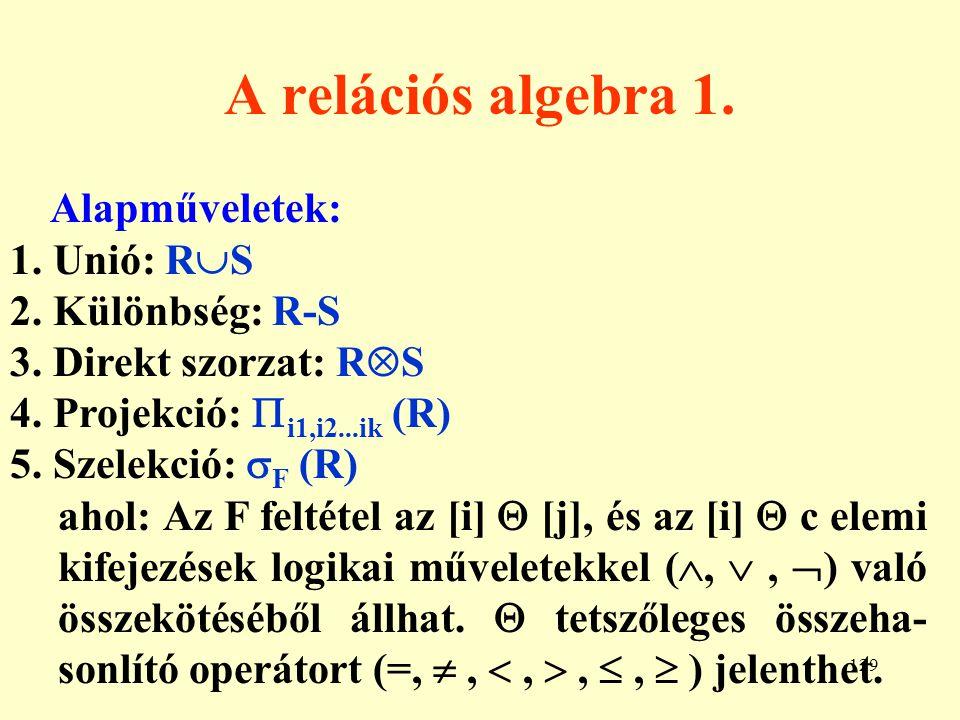 130 A relációs algebra 2.Következmény műveletek: 6.