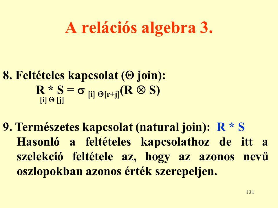 132 Példa relációs algebrai műveletekre 1.