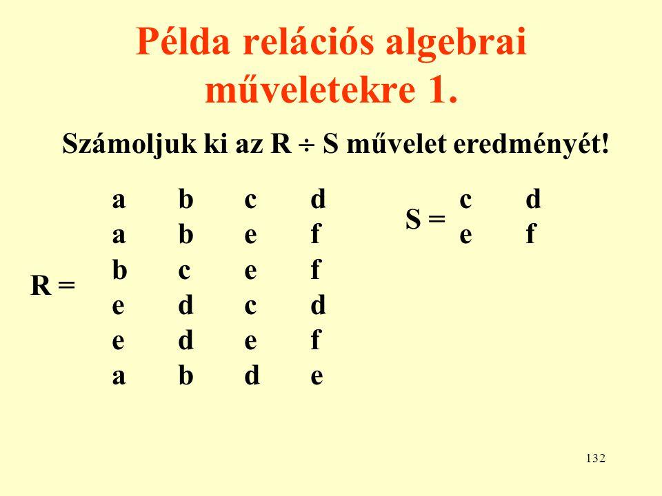 133 Példa relációs algebrai műveletekre 2.