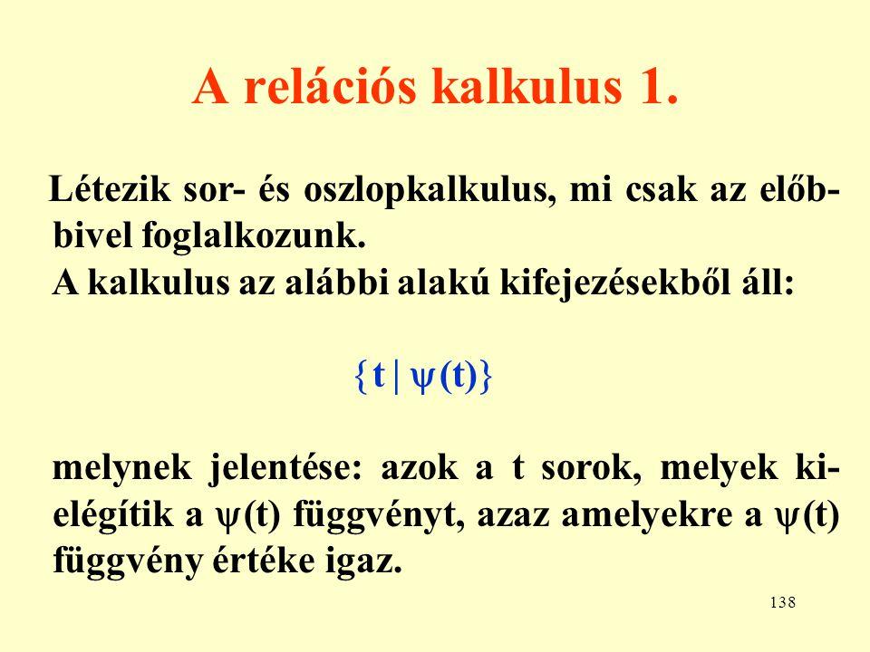 139 A relációs kalkulus 2.