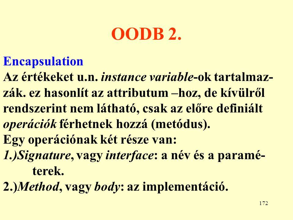 173 OODB 3.Inheritance, polymorphism A szokásos.