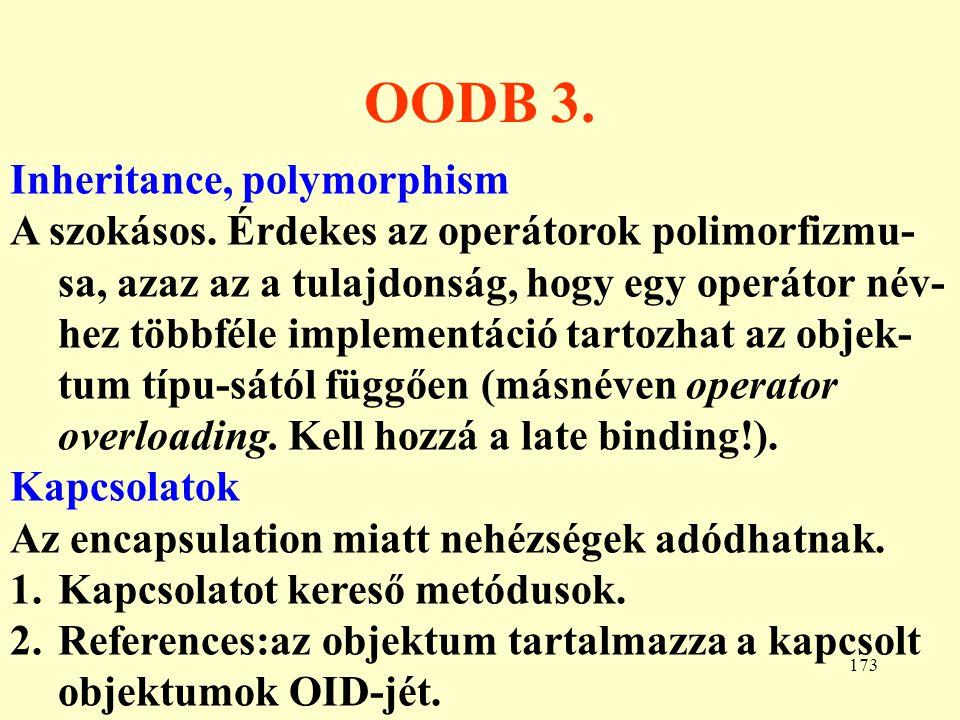 174 Az O2 adatdefiniálás I.A séma objektum típusokat és osztályokat definiál.