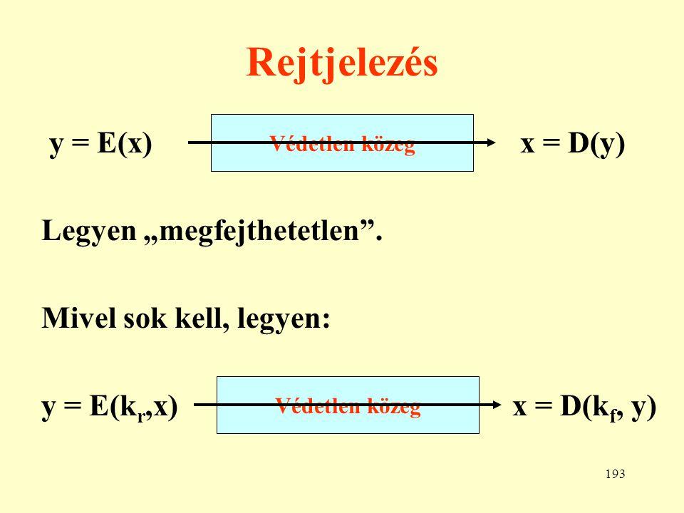 194 A rejtjelezés felosztása 1.Konvencionális a rejtjelezés, ha a rejtő kulcsból a fejtő kulcs meghatározható.