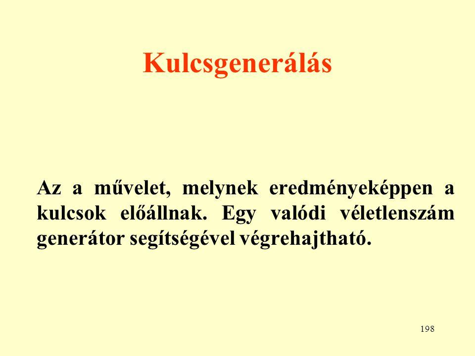"""199 Kulcskiosztás Példák: a.) Alapkulcsok b.) Merkle """"rejtvény módszere c.)A hatványozós módszer"""