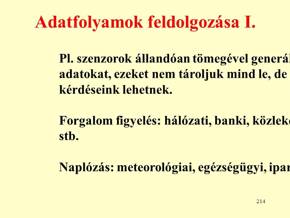 215 Adatfolyamok feldolgozása II.