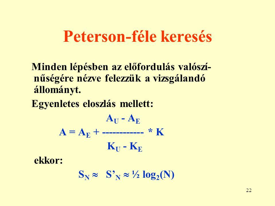 23 Bináris vs.Peterson keresés S N a Petersonnál kisebb, de 1.